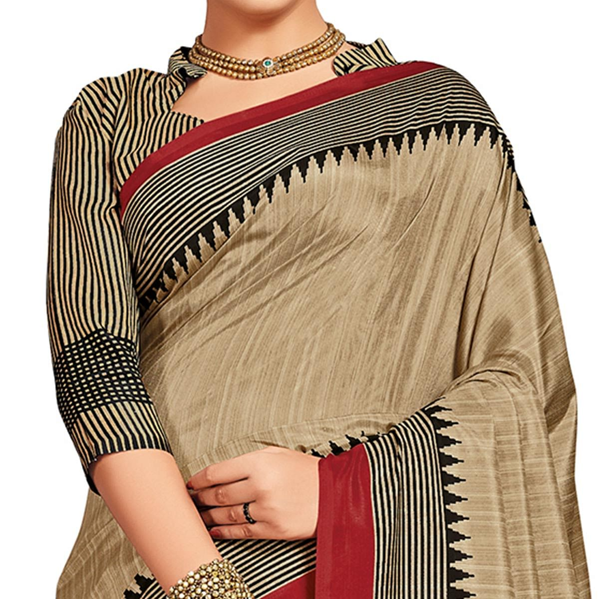 Imposing Beige-Red Colored Casual Printed Tussar Silk Saree