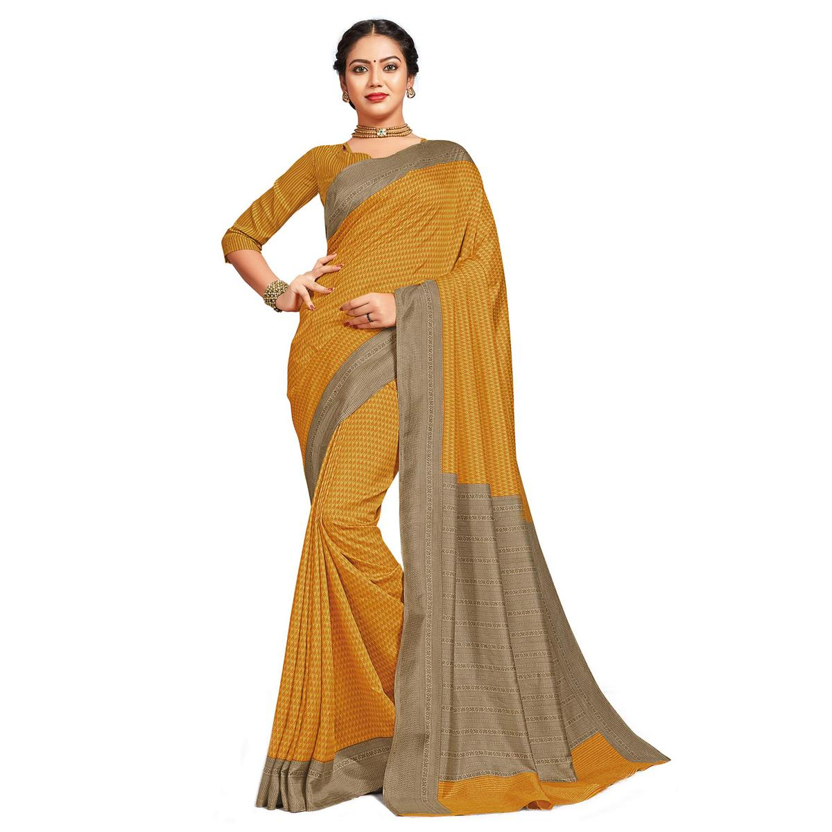 Lovely Yellow Colored Casual Printed Tussar Silk Saree