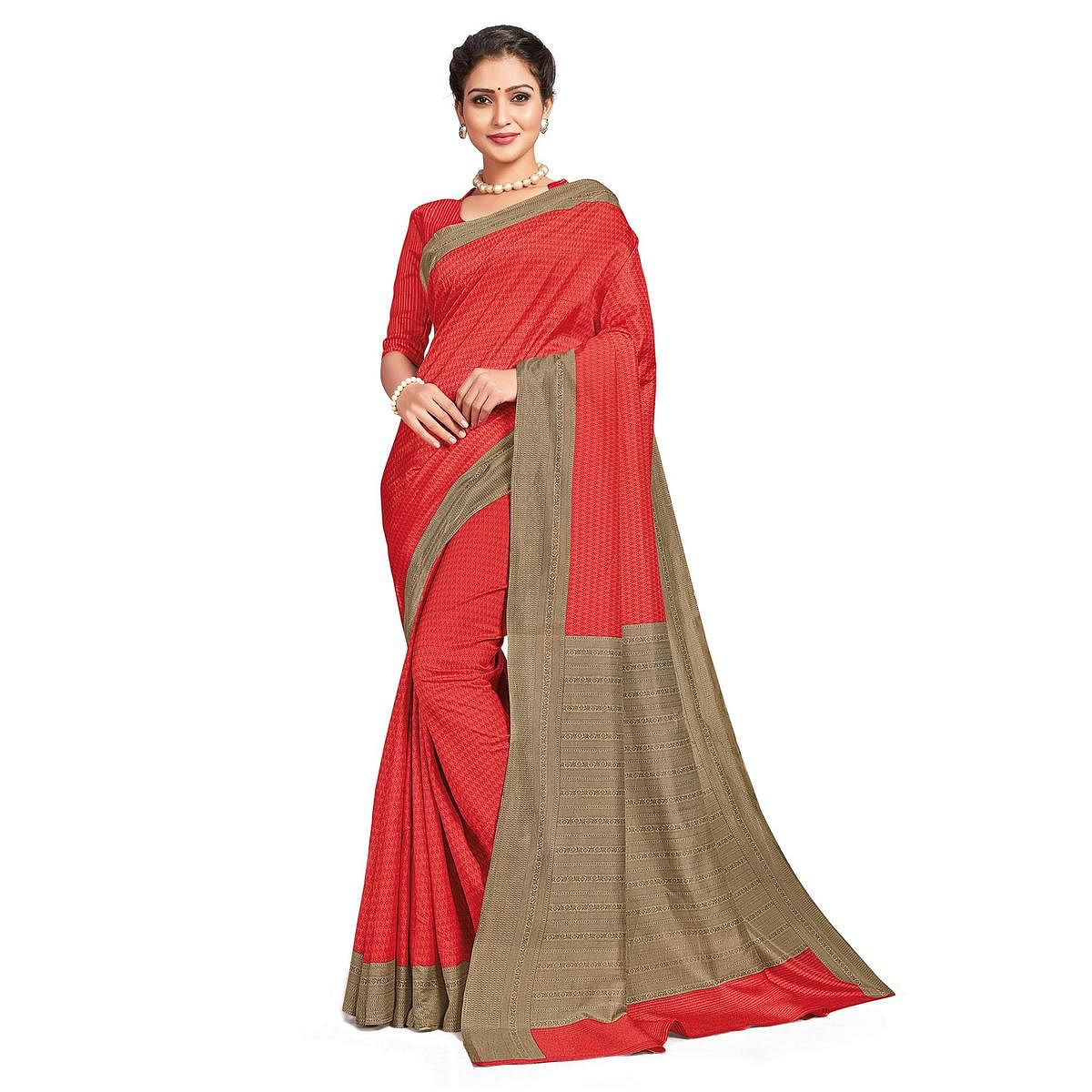 Hypnotic Red Colored Casual Printed Tussar Silk Saree