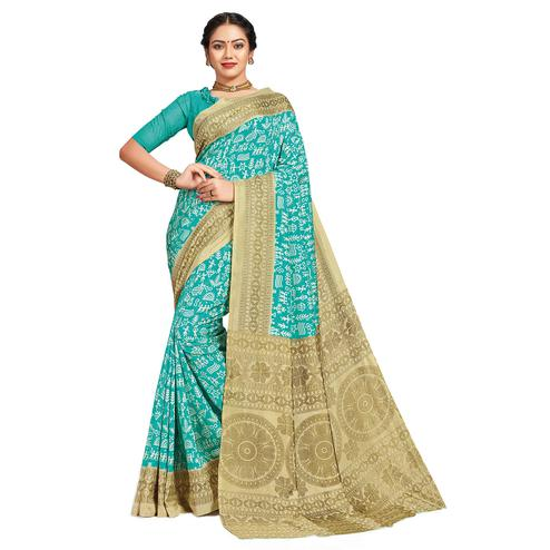 Flattering Aqua Blue Colored Casual Printed Tussar Silk Saree