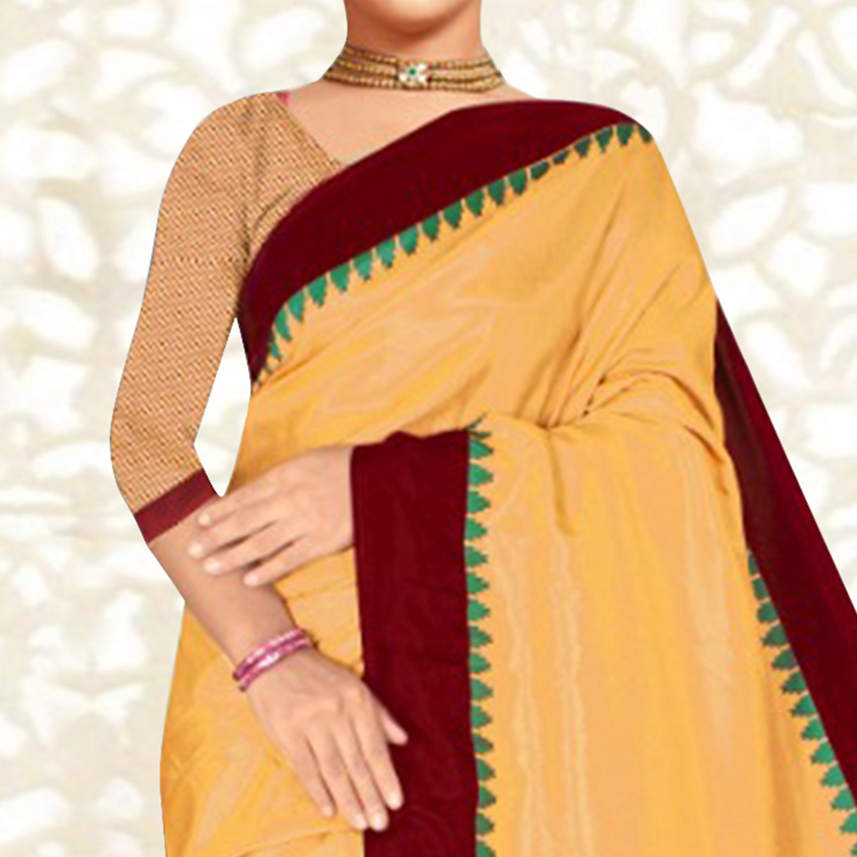 Majesty Beige Colored Casual Printed Tussar Silk Saree
