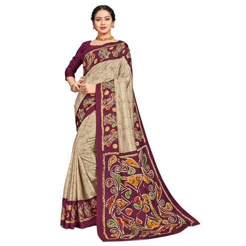 Impressive Beige-Purple Colored Casual Printed Tussar Silk Saree