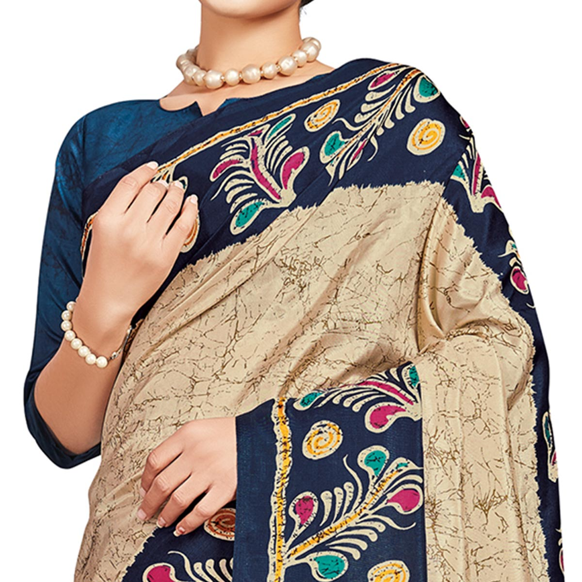 Excellent Beige-Blue Colored Casual Printed Tussar Silk Saree