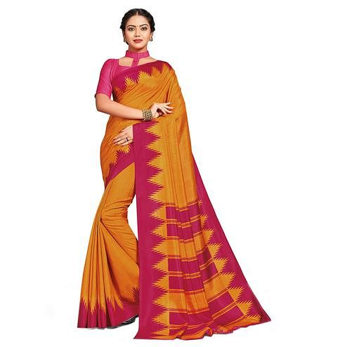 Preferable Orange Colored Casual Printed Tussar Silk Saree