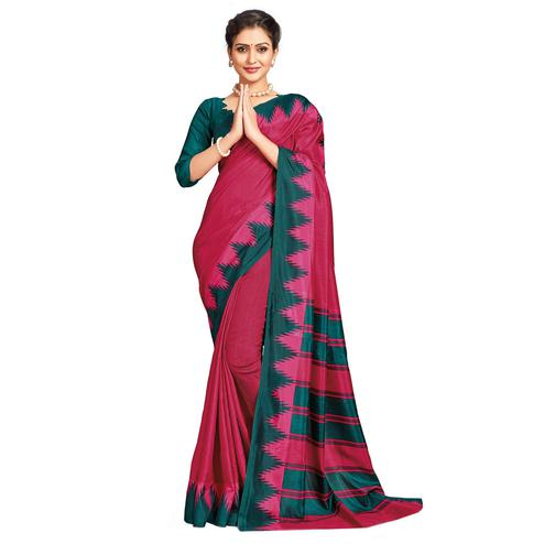 Mesmerising Dark Pink Colored Casual Printed Tussar Silk Saree