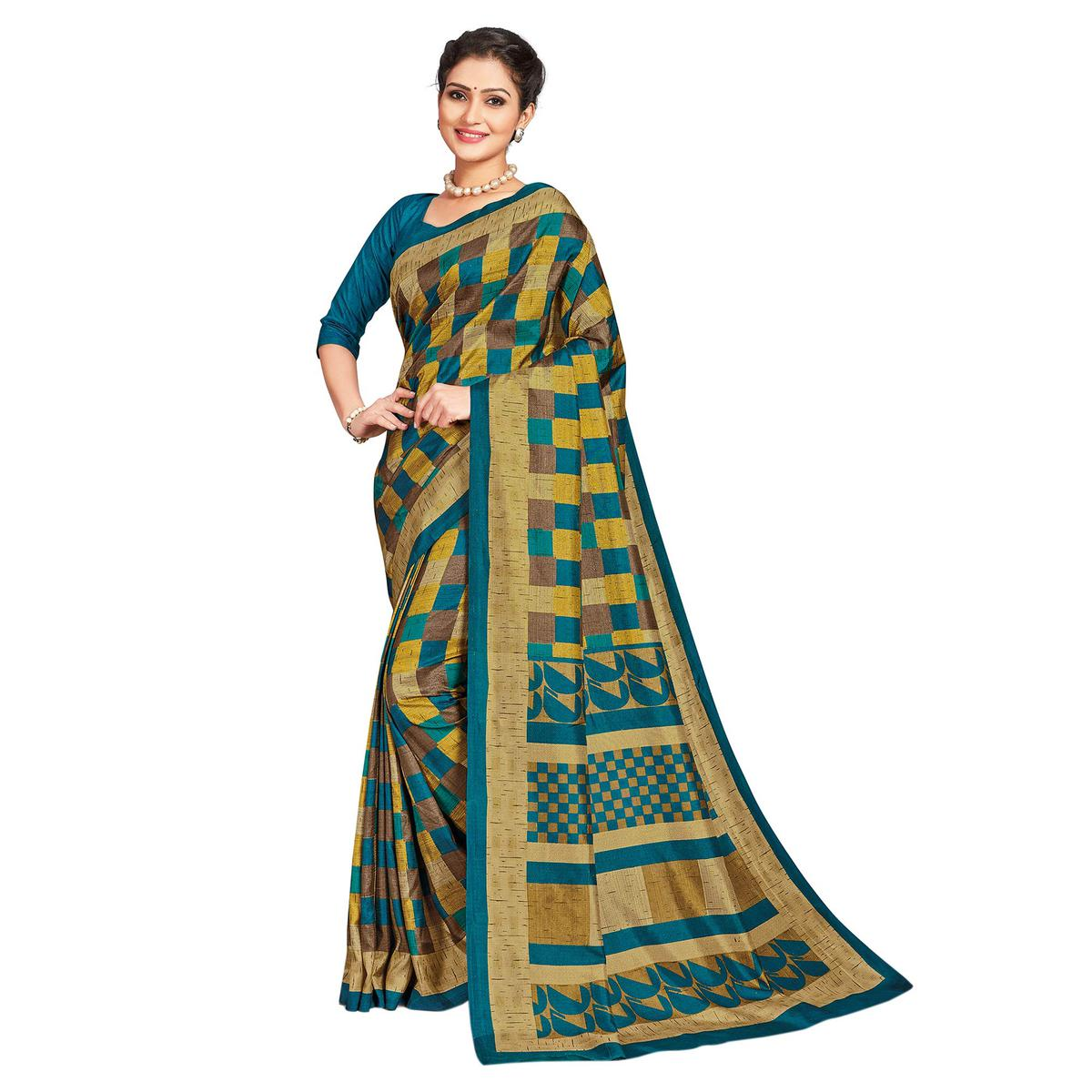 Pleasance Multi-Green Colored Casual Printed Tussar Silk Saree