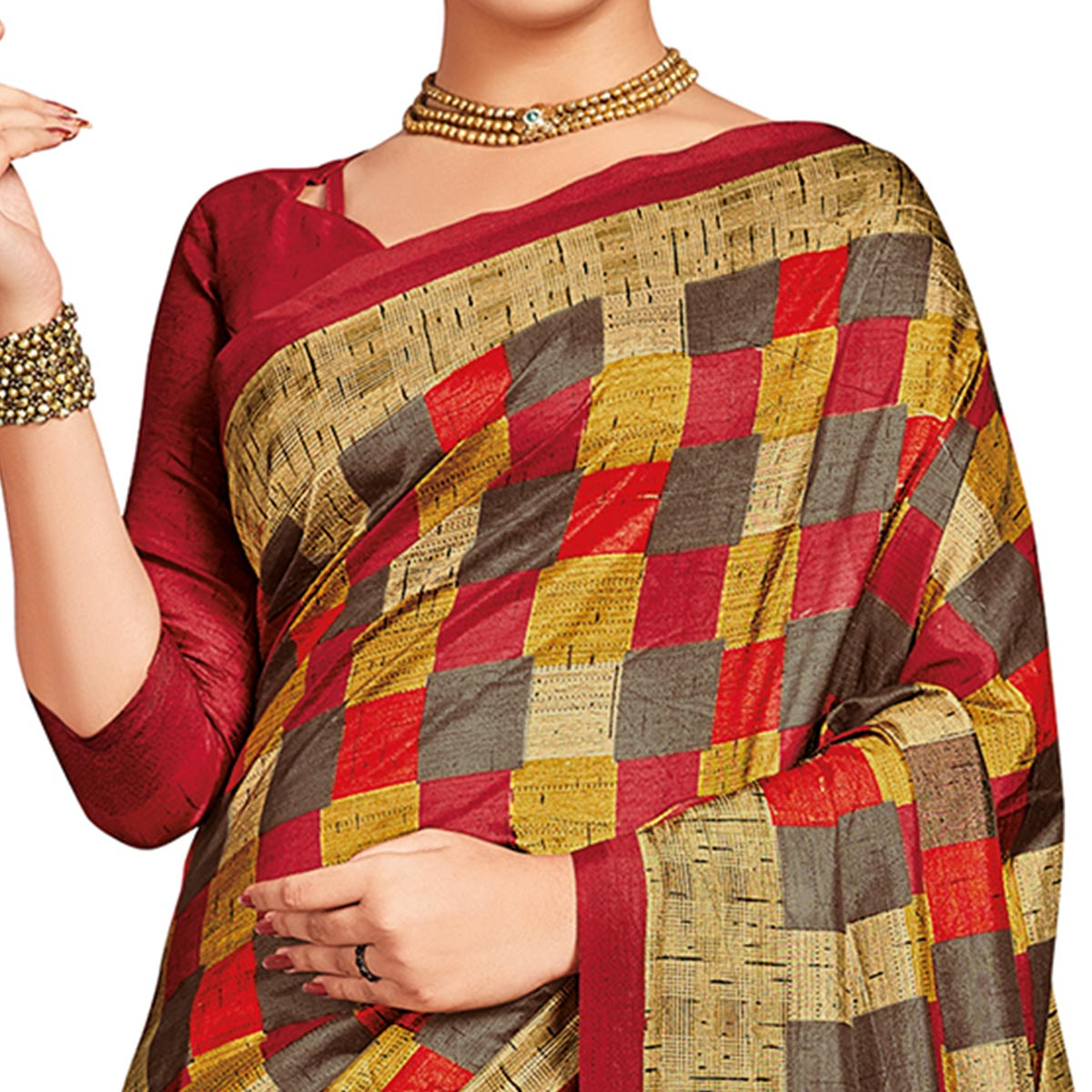 Marvellous Multi-Red Colored Casual Printed Tussar Silk Saree