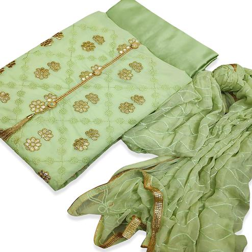 Blissful Green Colored Party Wear Embroidered Chanderi Silk Dress Material