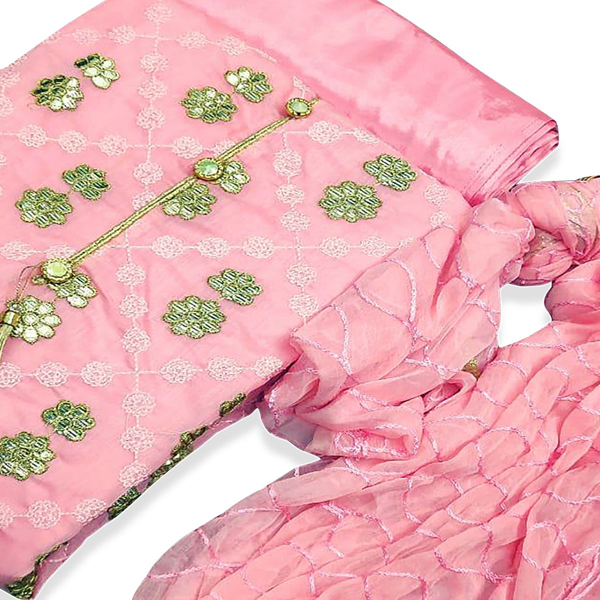Imposing Pink Colored Party Wear Embroidered Chanderi Silk Dress Material
