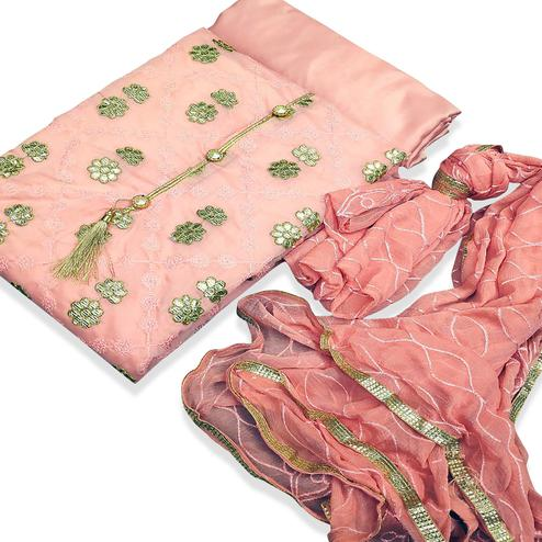 Lovely Gajri Colored Party Wear Embroidered Chanderi Silk Dress Material