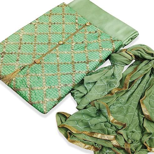 Impressive Green Colored Party Wear Embroidered Chanderi Silk Dress Material