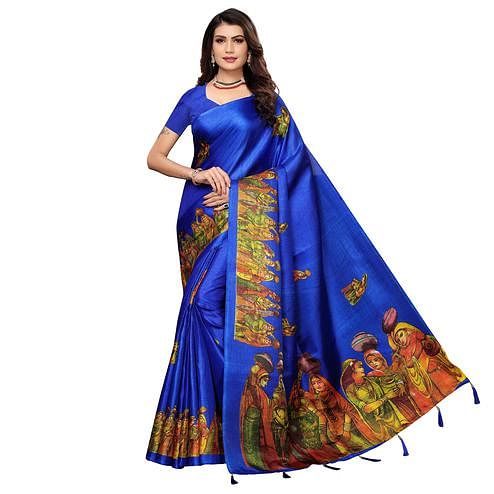 Adorable Blue Colored Festive Wear Printed Khadi Silk Saree