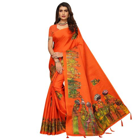Glorious Orange Colored Festive Wear Printed Khadi Silk Saree