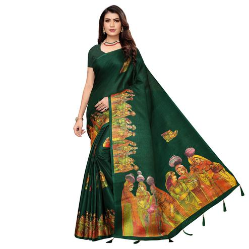 Attractive Dark Green Colored Festive Wear Printed Khadi Silk Saree