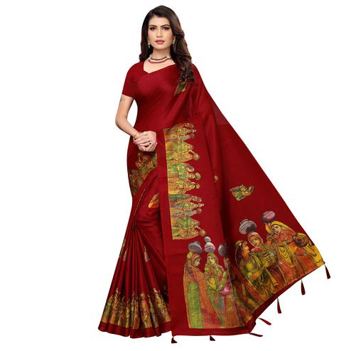 Beautiful Maroon Colored Festive Wear Printed Khadi Silk Saree