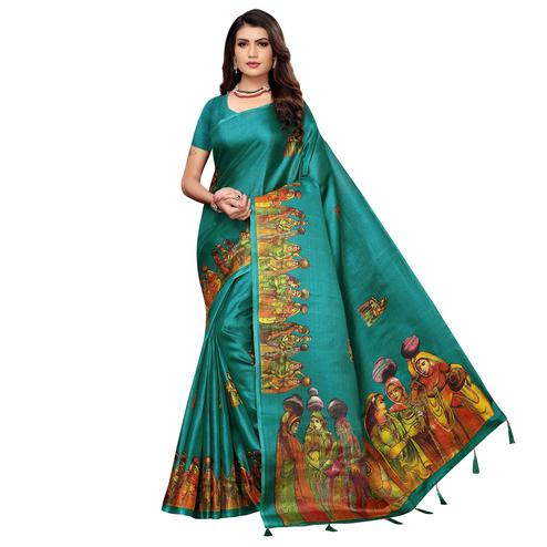 Graceful Turquoise Green Colored Festive Wear Printed Khadi Silk Saree