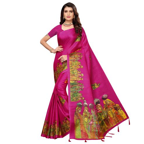 Blooming Rani Pink Colored Festive Wear Printed Khadi Silk Saree