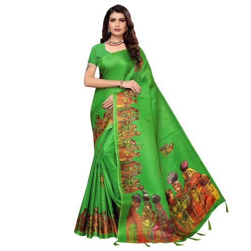 Charming Light Green Colored Festive Wear Printed Khadi Silk Saree