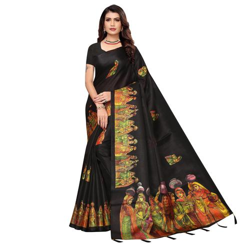 Jazzy Black Colored Festive Wear Printed Khadi Silk Saree