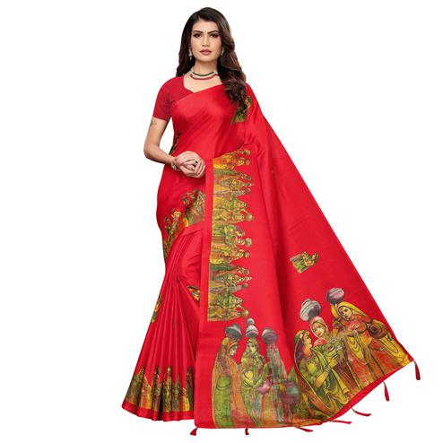 Delightful Red Colored Festive Wear Printed Khadi Silk Saree