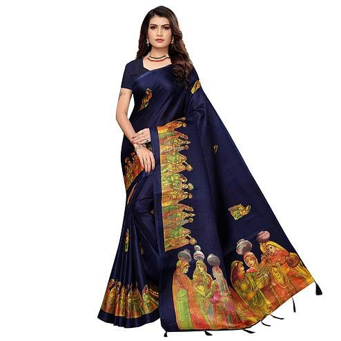 Engrossing Navy Blue Colored Festive Wear Printed Khadi Silk Saree