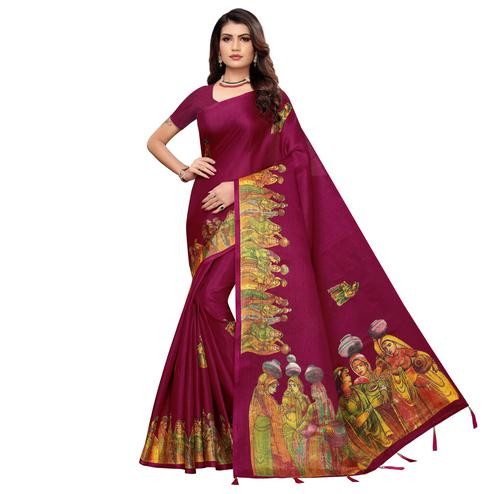 Captivating Purple Colored Festive Wear Printed Khadi Silk Saree
