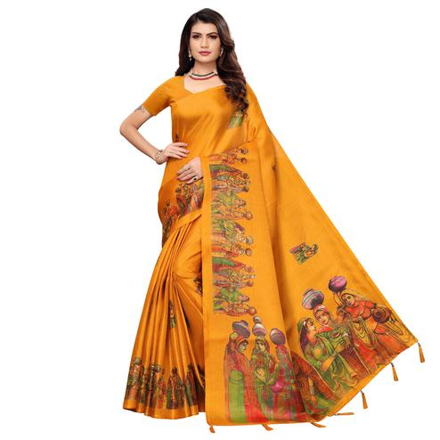 Innovative Mustard Yellow Colored Festive Wear Printed Khadi Silk Saree