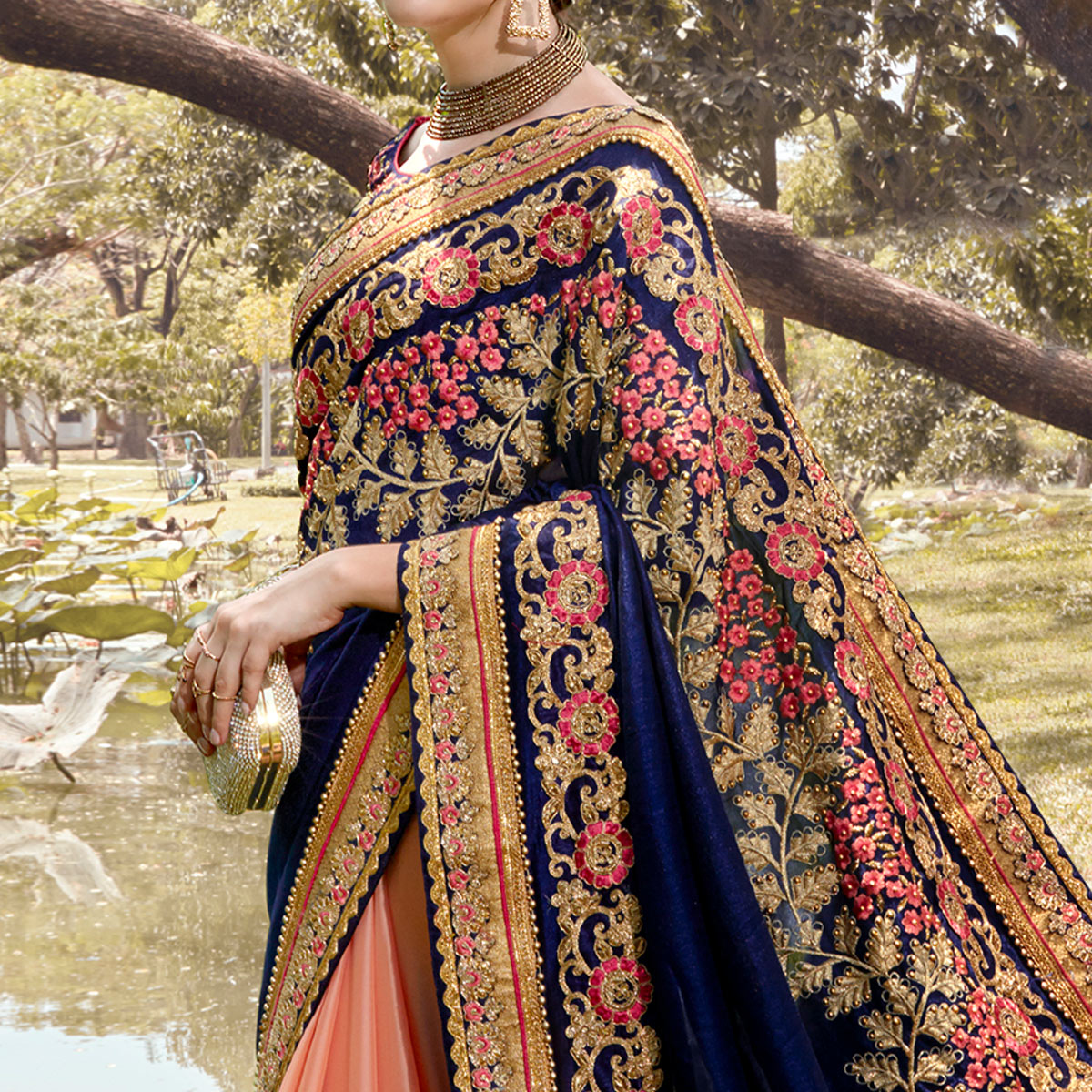 Energetic Peach-Navy Blue Colored Partywear Embroidered Heavy Pure Georgette Half-Half Saree