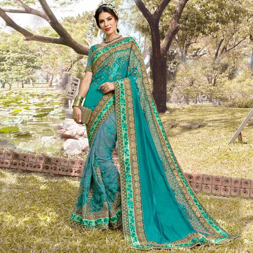 Pleasant Turquoise Green Colored Partywear Embroidered Heavy Pure Georgette Half-Half Saree