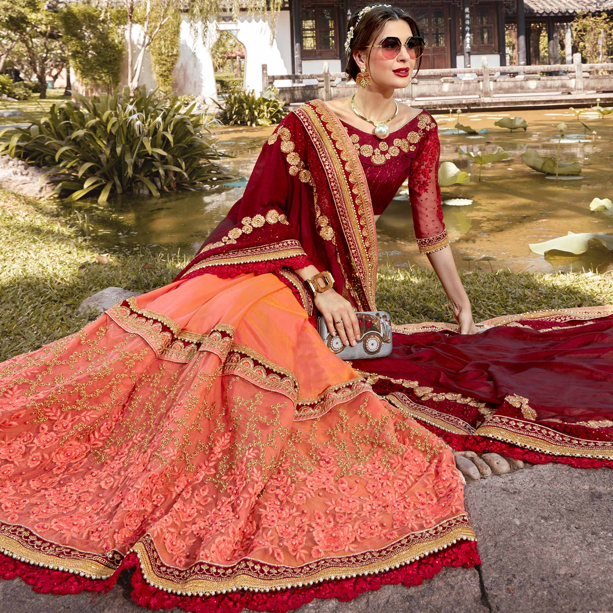 Radiant Peach-Red Colored Partywear Embroidered Heavy Pure Georgette Half-Half Saree