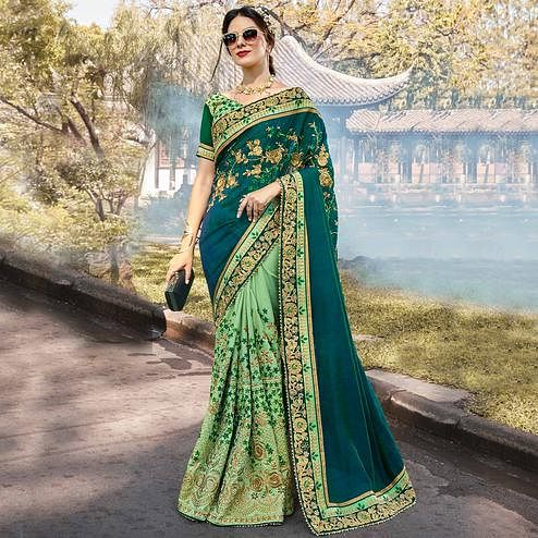 Elegant Green Colored Partywear Embroidered Heavy Pure Georgette Half-Half Saree