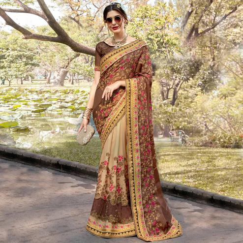 Sophisticated Beige-Brown Colored Partywear Embroidered Heavy Pure Georgette Half-Half Saree