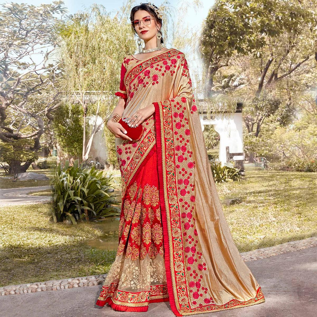 Exotic Red-Beige Colored Partywear Embroidered Heavy Pure Georgette Half-Half Saree