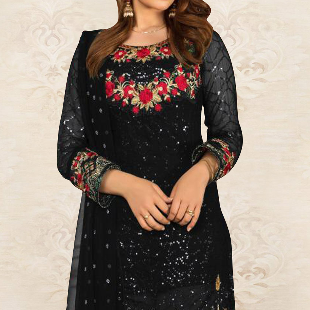 Gorgeous Black Colored Partywear Embroidered Georgette Pant Style Kashmiri Suit