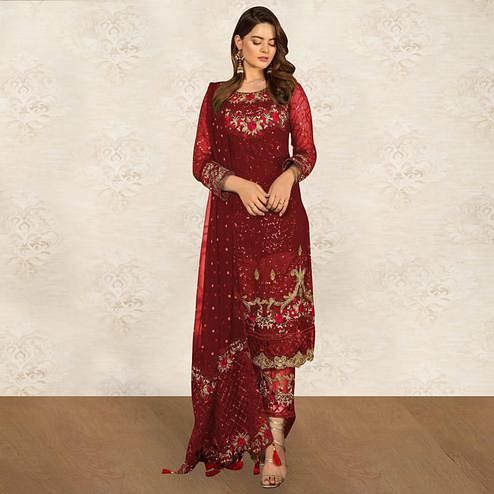 Unique Red Colored Partywear Embroidered Georgette Pant Style Kashmiri Suit