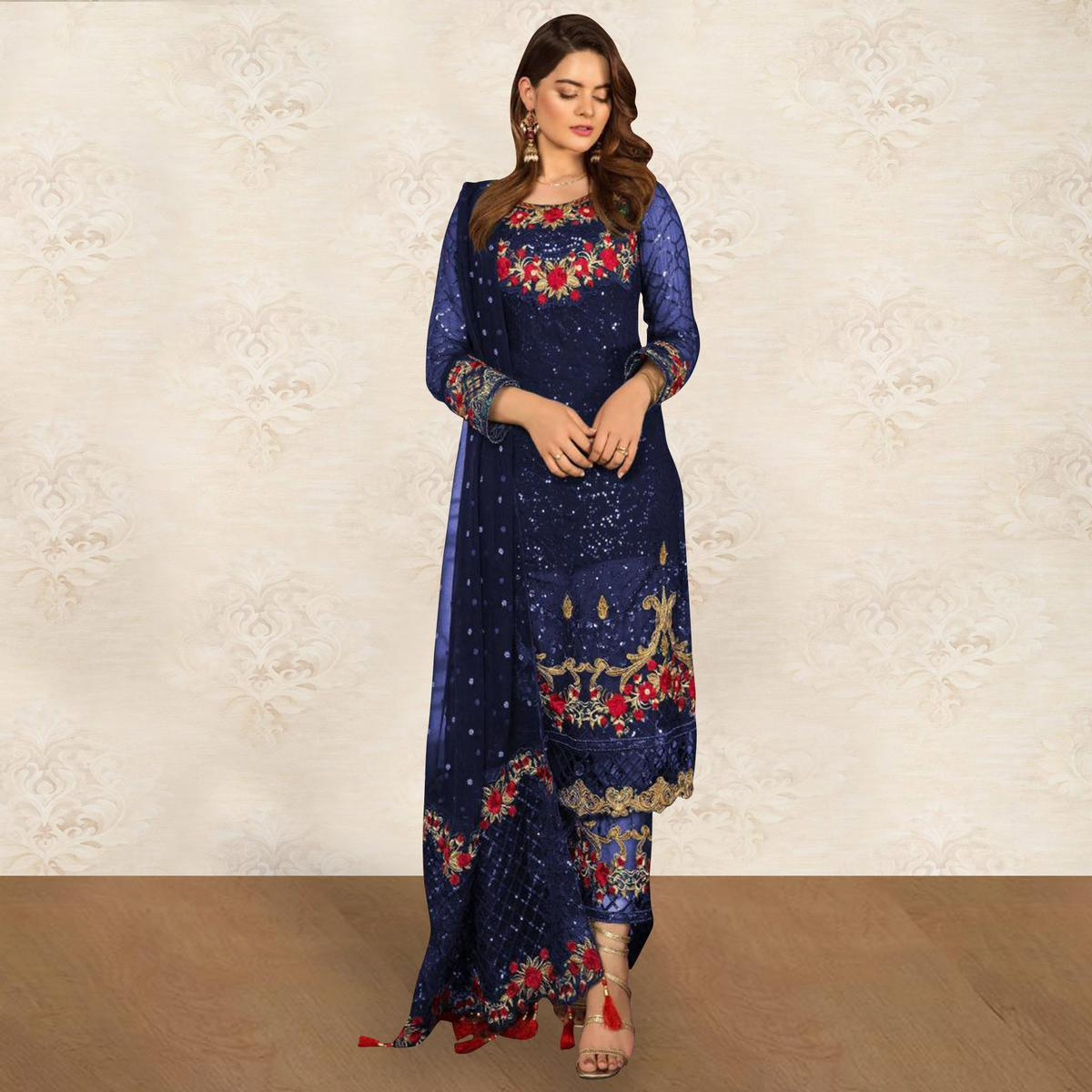 Mesmeric Blue Colored Partywear Embroidered Georgette Pant Style Kashmiri Suit