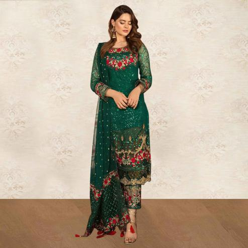 Refreshing Ocean Green Colored Partywear Embroidered Georgette Pant Style Kashmiri Suit