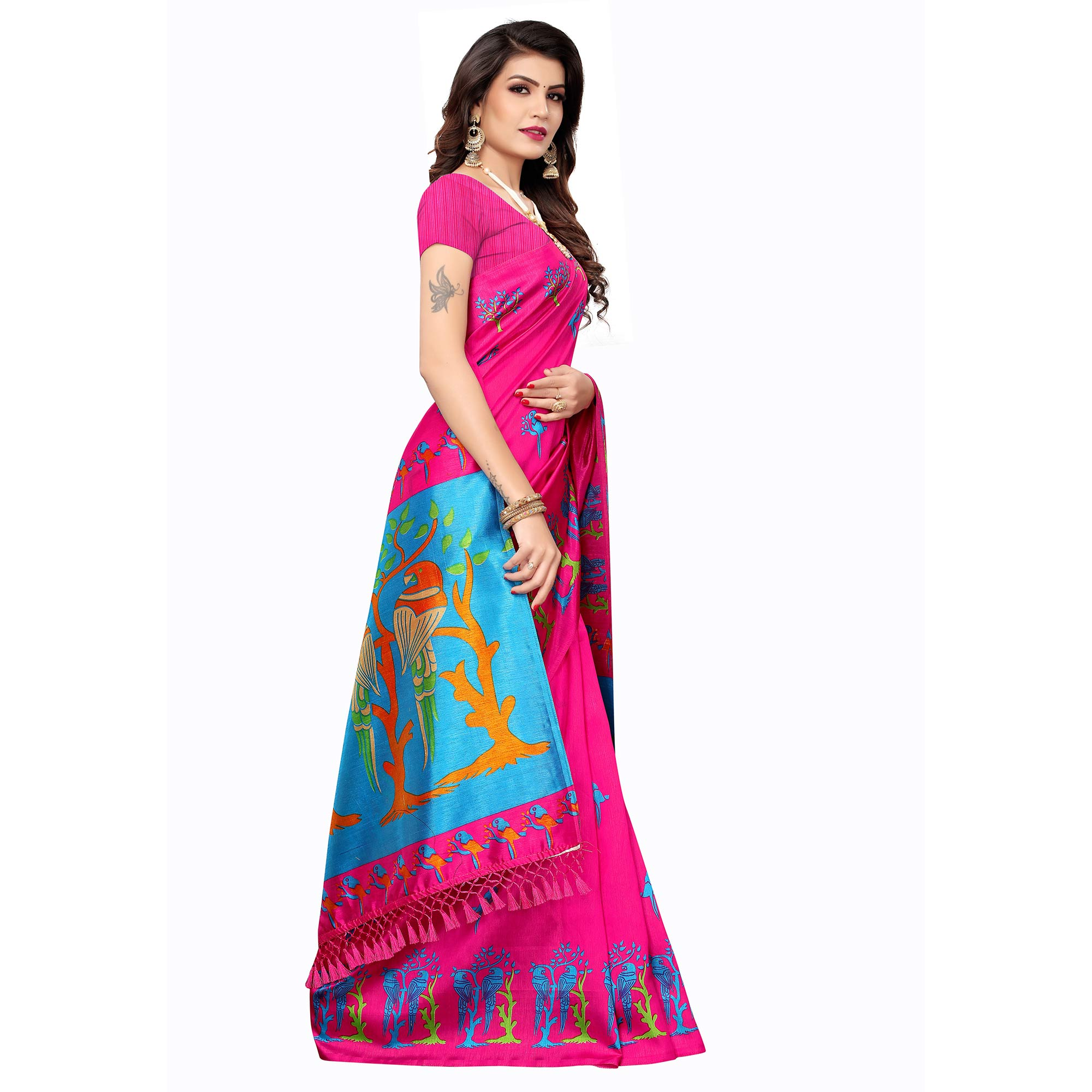 Attractive Dark Pink Colored Festive Wear Parrot Printed Zoya Silk Saree
