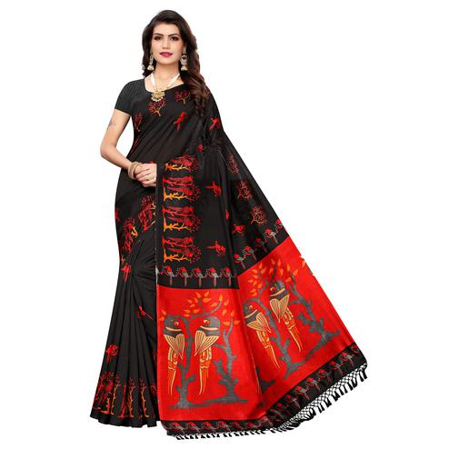 Desirable Black Colored Festive Wear Parrot Printed Zoya Silk Saree