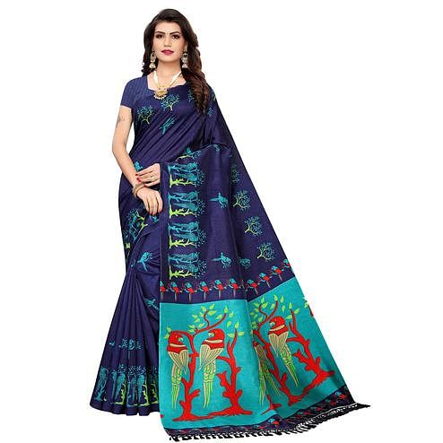 Appealing Navy Blue Colored Festive Wear Parrot Printed Zoya Silk Saree
