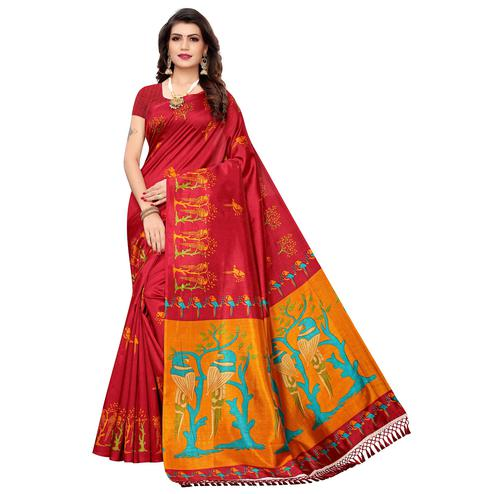 Capricious Red Colored Festive Wear Parrot Printed Zoya Silk Saree