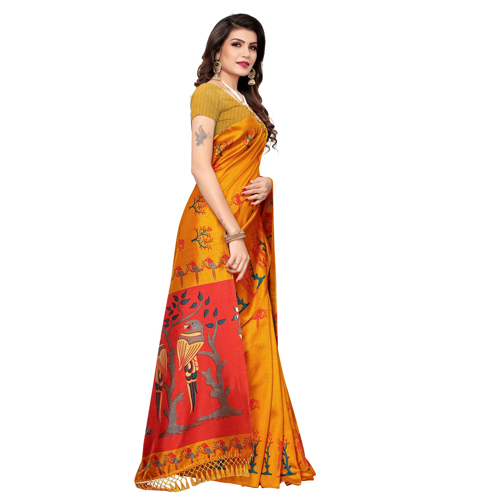 Entrancing Mustard Yellow Colored Festive Wear Parrot Printed Zoya Silk Saree