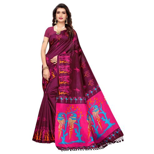 Groovy Wine Colored Festive Wear Parrot Printed Zoya Silk Saree