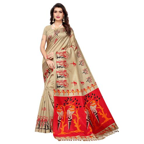Adorning Beige Colored Festive Wear Parrot Printed Zoya Silk Saree