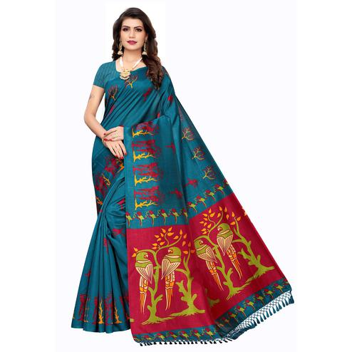 Exclusive Rama Blue Colored Festive Wear Parrot Printed Zoya Silk Saree