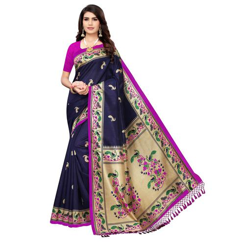 Radiant Navy Blue Colored Festive Wear Peacock Printed Zoya Silk Saree