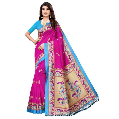 Trendy Pink Colored Festive Wear Peacock Printed Zoya Silk Saree