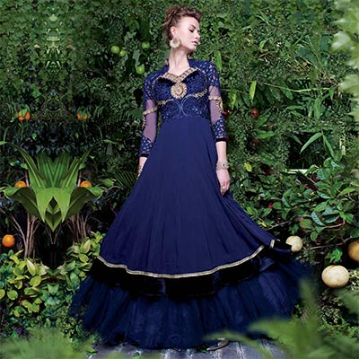 Cobalt Blue Layered Gown