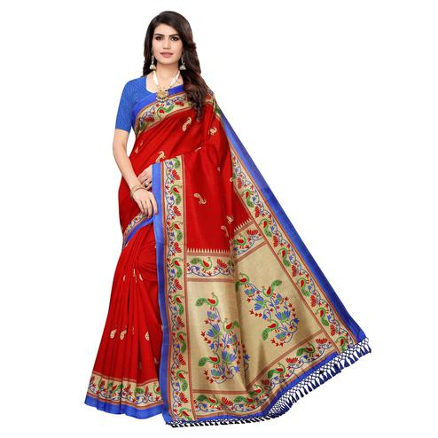 Charming Red Colored Festive Wear Peacock Printed Zoya Silk Saree