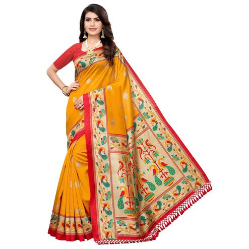 Pleasant Yellow Colored Festive Wear Peacock Printed Zoya Silk Saree